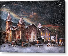 Winter - Clinton Nj - Silent Night  Acrylic Print by Mike Savad