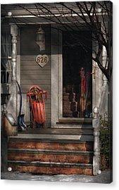 Winter - Rosebud And Shovel Acrylic Print by Mike Savad
