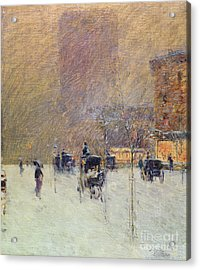 Winter Afternoon In New York Acrylic Print by Childe Hassam