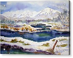 Acrylic Print featuring the painting Winter Airport Road by Pat Crowther