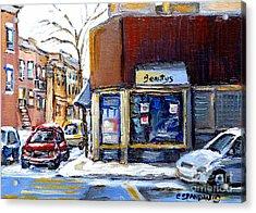 Winter At Beauty's Restaurant City Scene Landmark Paintings Montreal Memories Exceptional Canada Art Acrylic Print by Carole Spandau
