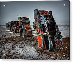 Winter At Cadillac Ranch 001 Acrylic Print
