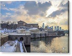 Winter At Fairmount Waterworks In Philadelphia Acrylic Print by Bill Cannon
