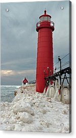 Winter At Grand Haven Lighthouse Acrylic Print