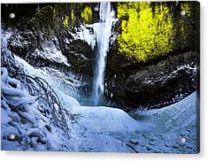 Winter At Latourell Falls Acrylic Print