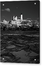 Winter At Nubble Lighthouse Bw Acrylic Print