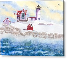 Winter At Nubble Lighthouse  Acrylic Print by Roseann Meserve