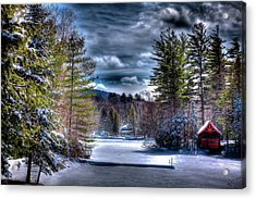 Acrylic Print featuring the photograph Winter At The Boathouse by David Patterson