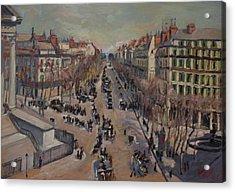 Winter At The Boulevard De La Madeleine, Paris Acrylic Print