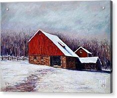 Winter Barn Bucks County Pennsylvania Acrylic Print by Joyce A Guariglia