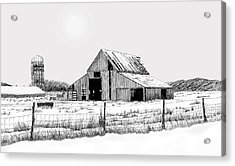 Winter Barn Acrylic Print by Lyle Brown