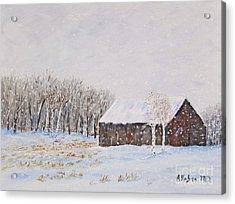 Winter Barn Acrylic Print by Stanton Allaben