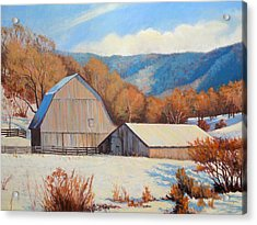 Winter Barns Acrylic Print by Keith Burgess