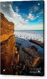 Winter Beach Sunset Acrylic Print