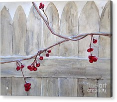 Winter Berries Watercolor Acrylic Print