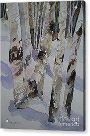 Acrylic Print featuring the painting Winter Birches by Sandra Strohschein