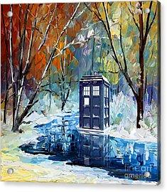 Winter Blue Phone Box Acrylic Print