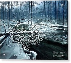 Acrylic Print featuring the painting Winter Branches by Sergey Zhiboedov