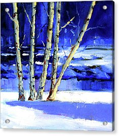 Acrylic Print featuring the painting Winter By The River by Nancy Merkle