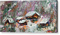 Winter Cabins By Ginette Acrylic Print