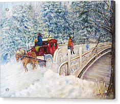Winter Carriage In Central Park Acrylic Print