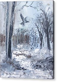 Acrylic Print featuring the painting Winter Caws by Robin Maria Pedrero