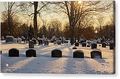Acrylic Print featuring the photograph Winter Cemetery  by Kirkodd Photography Of New England