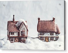 Winter Ceramic Cottages In Snow Acrylic Print