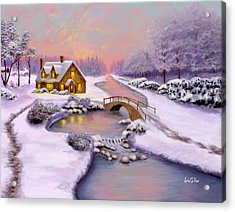 Winter Cottage Acrylic Print by Sena Wilson