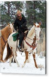 Winter Cowboy Acrylic Print by Mike Dawson
