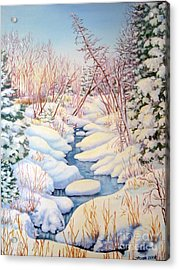 Acrylic Print featuring the painting Winter Creek 1  by Inese Poga