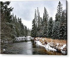 Acrylic Print featuring the photograph Winter Creek In Adirondack Park - Upstate New York by Brendan Reals