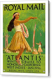 1936 Royal Mail Lines Ss Atlantis Cruise Ship Vintage Travel Poster Acrylic Print