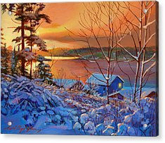 Winter Day Begins Acrylic Print by David Lloyd Glover