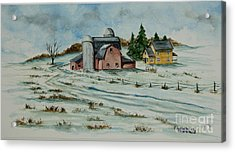Winter Down On The Farm Acrylic Print by Charlotte Blanchard