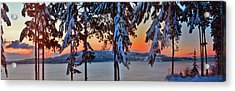 Winter Drama Sunrise Panorama Acrylic Print by Mary Gaines