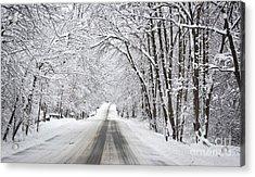 Winter Drive On Highway A Acrylic Print
