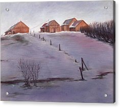 Acrylic Print featuring the painting Winter Dusk by Diane Daigle