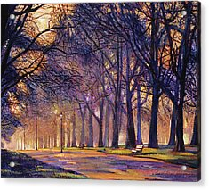 Winter Evening In Central Park Acrylic Print