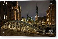 Winter Evening In Hamburg  Acrylic Print