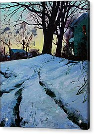 Acrylic Print featuring the painting Winter Evening Lights by Sergey Zhiboedov