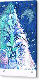 Winter Fantasy Tree With Moon Acrylic Print by Anne-Elizabeth Whiteway