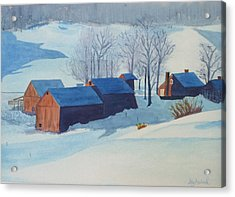 Winter Farm Acrylic Print by Ally Benbrook
