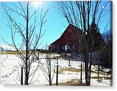 Winter Farm House Acrylic Print