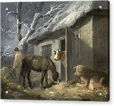 Winter Farmyard Acrylic Print by George Morland