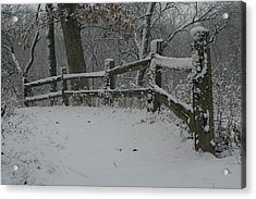 Winter Fence Trail H Acrylic Print