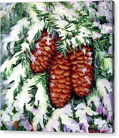 Winter Fir Cones Acrylic Print