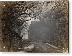 Winter Foggy Countryside Road And Barn Acrylic Print