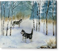 Acrylic Print featuring the painting Winter Frolic by Sharon Nummer