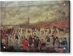Acrylic Print featuring the photograph Winter Fun Painting By Barend Avercamp by Patricia Hofmeester